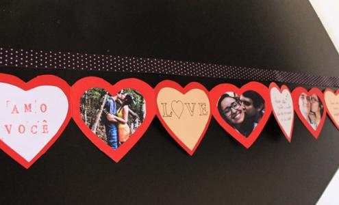 Cartão sanfonado em formato de coração