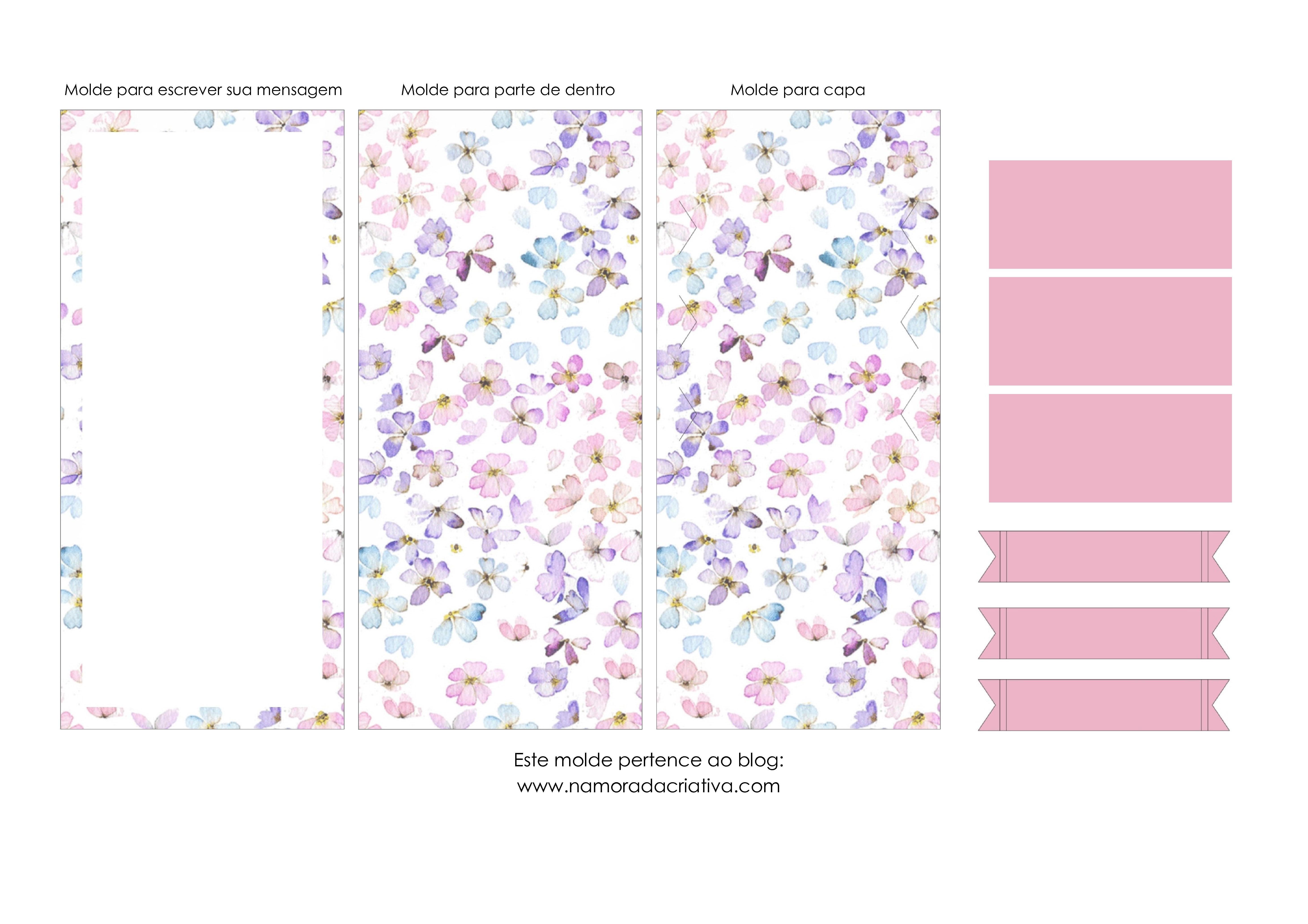 Molde Cartão dia das Mães - Blog Namorada Criativa - Em branc