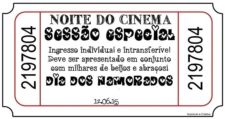 Ingressos Convite E Rótulo De Pipoca Para Noite Do Cinema