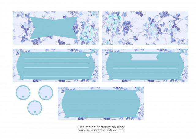 Molde Cartão dia dos Namorados Azul lado em branco