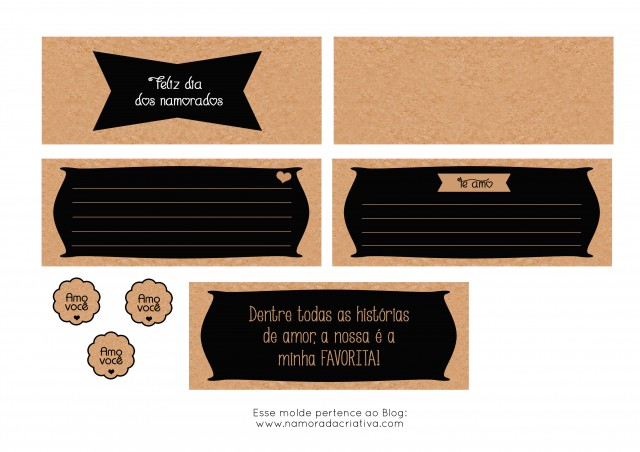 Molde Cartão dia dos Namorados Preto de lado