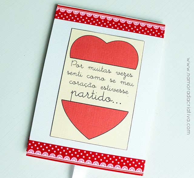 """DIY: Cartão """"Meu coração só está completo com você"""""""