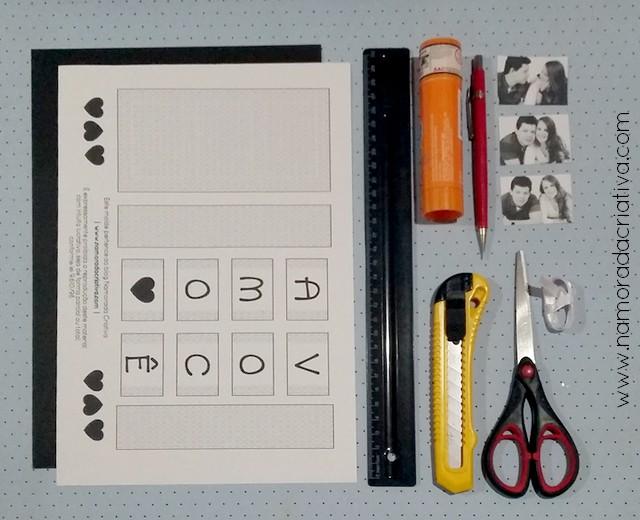 DIY - Cartão Amo Você - Namorada Criativa - Materiais