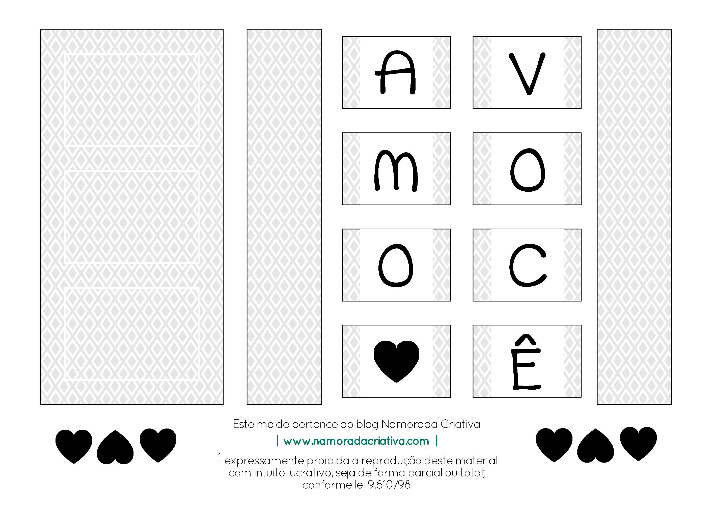 DIY - Cartão Amo Você - Namorada Criativa - Molde