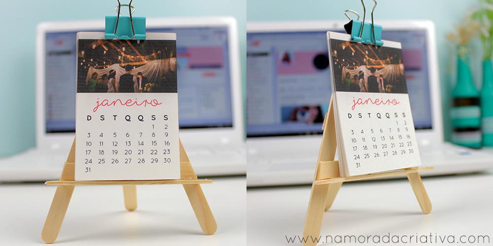 Diy mini calend rio de mesa com fotos namorada criativa - Calendario de mesa ...