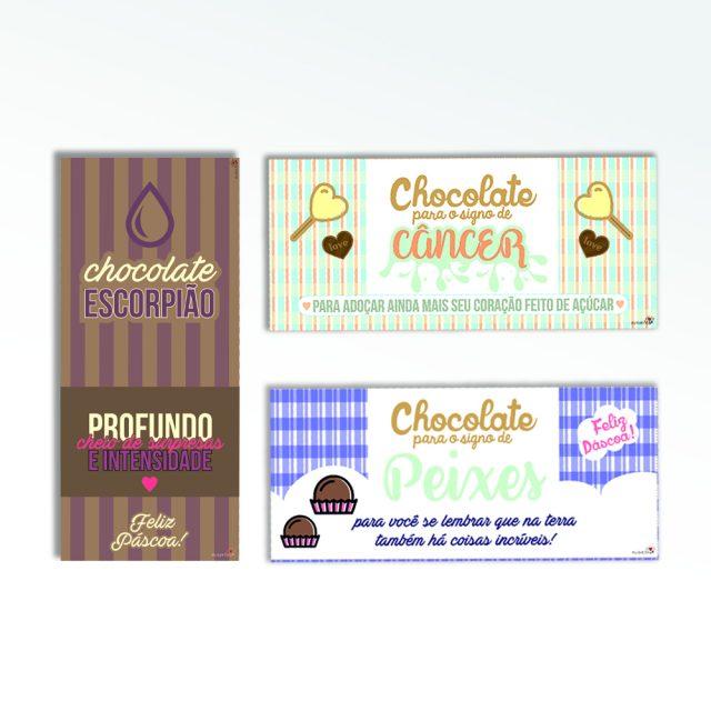 Páscoa: Rótulos para chocolate dos signos (elemento água)