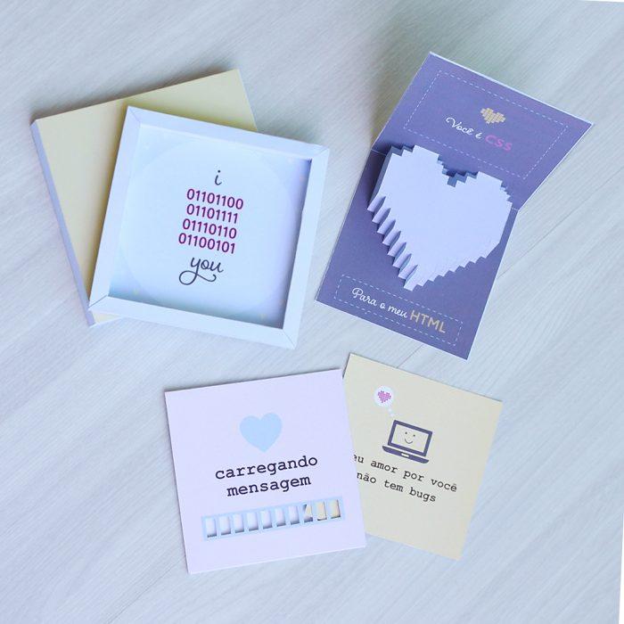 DIY: 3 cartões para namorado desenvolvedor
