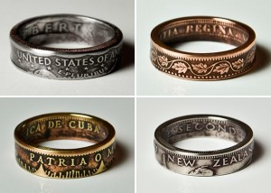 Anéis criados a partir de moedas