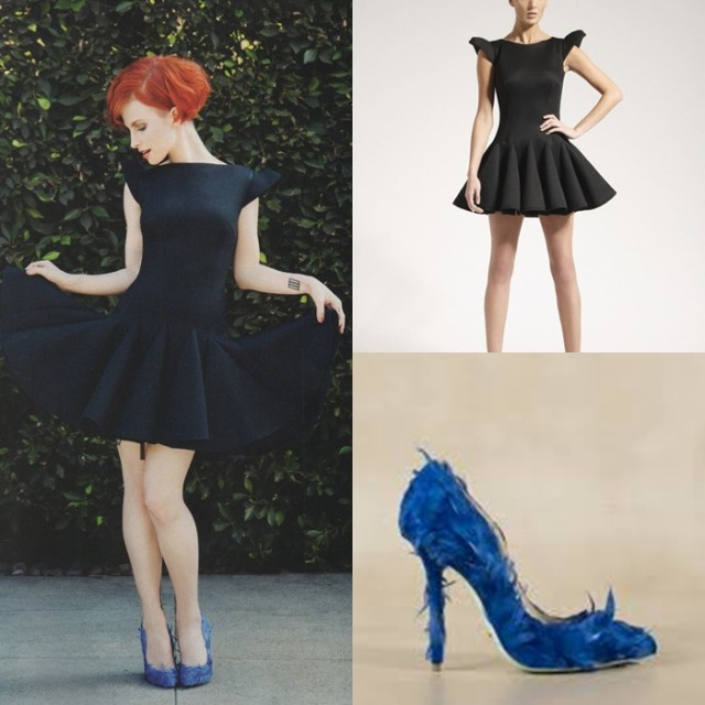 Philip-Armstrong-Black-Aertex-Skater-Dress-Giannico-Blue-Feather-Pumps-Bust-Magazine-Dec-Jan-2014-Hayley-Williams