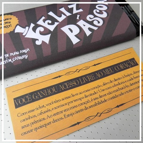 DIY Páscoa: Barra de chocolate com Ticket premiado