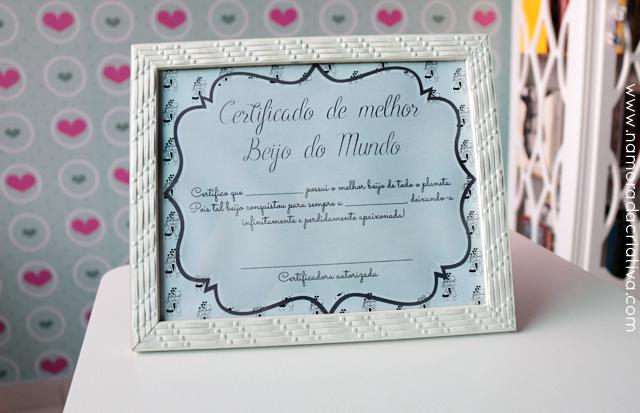 Certificado de Melhor Beijo [com versão editável]