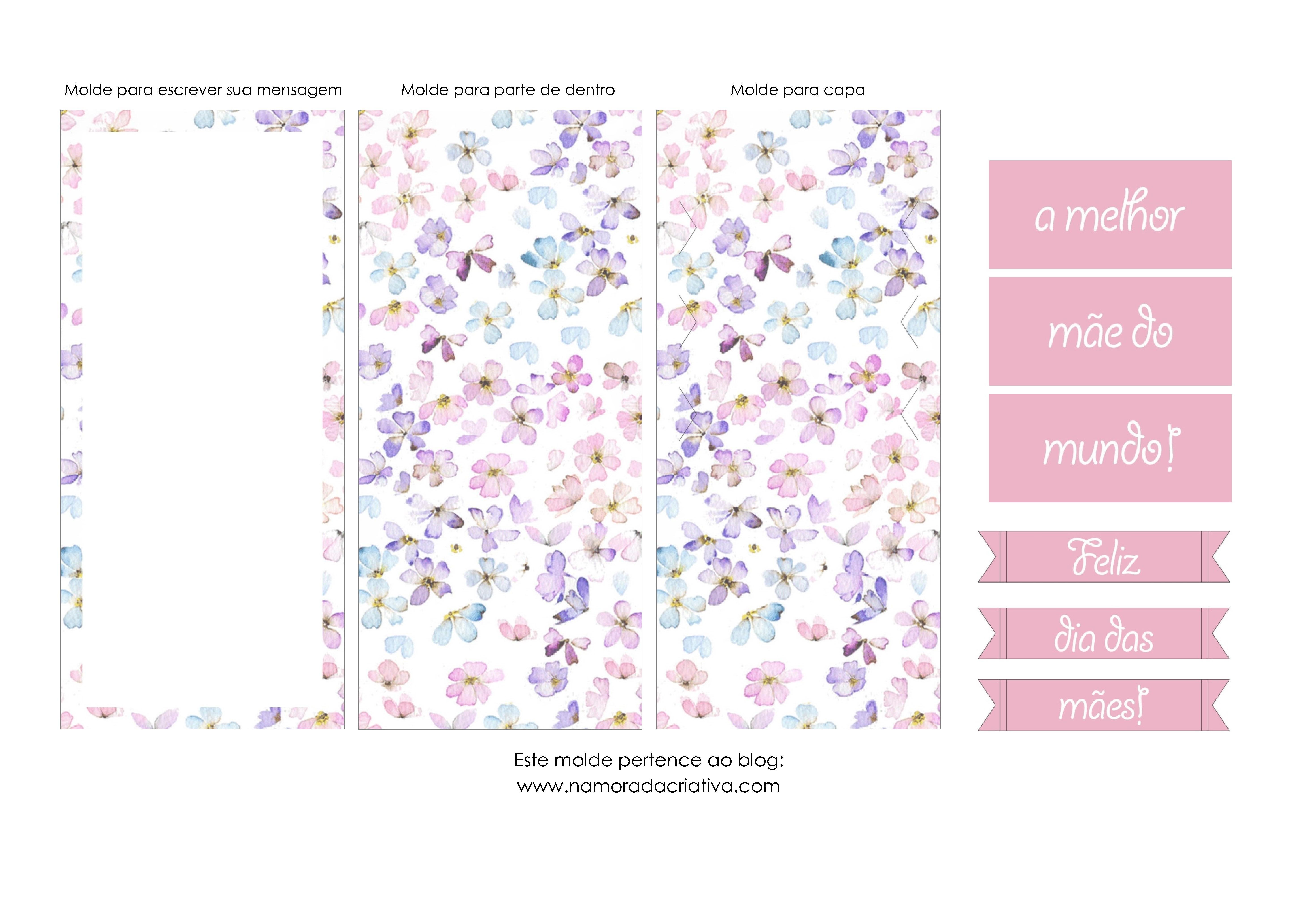 Molde Cartão dia das Mães - Blog Namorada Criativa
