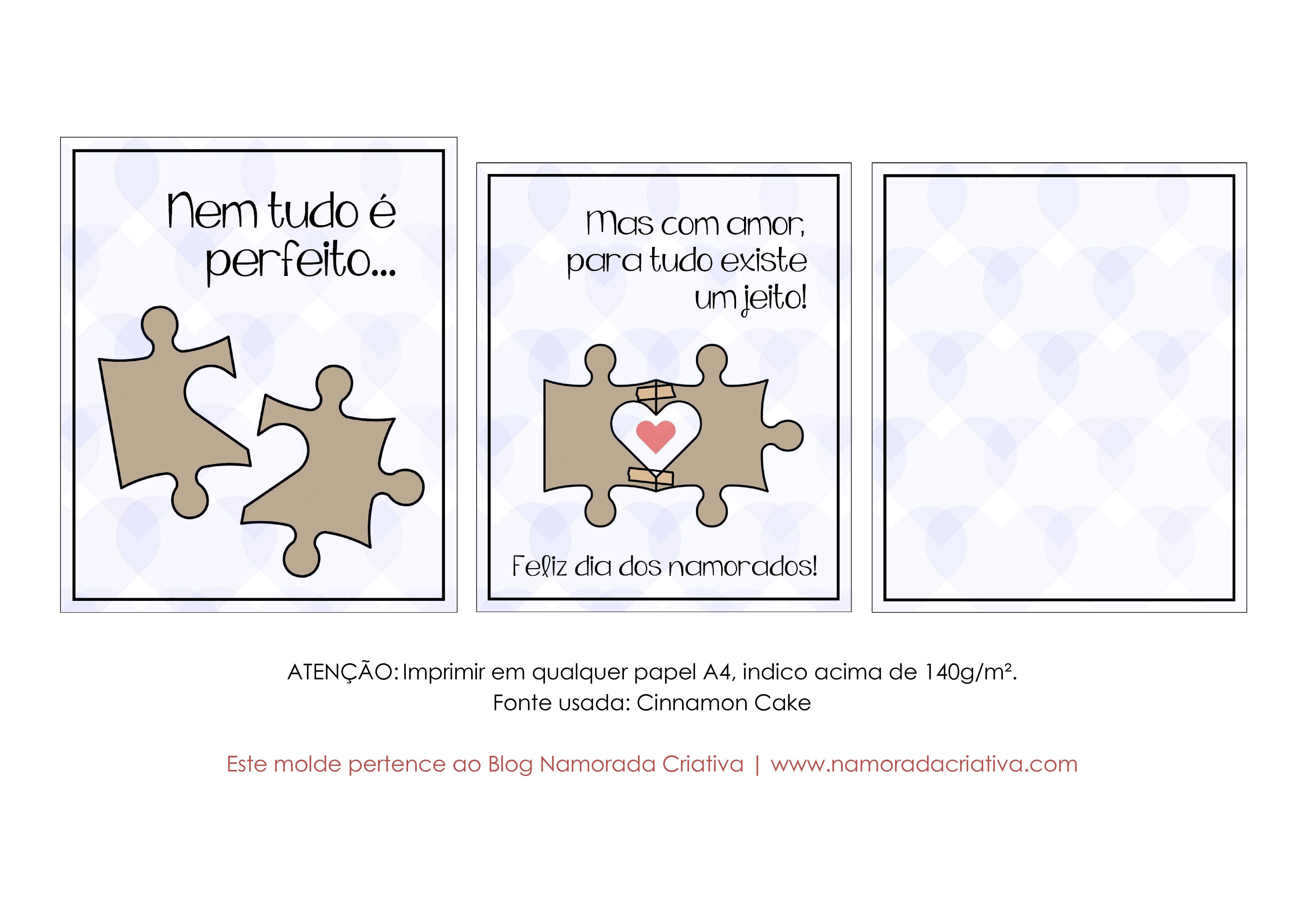 DIY - Cartão Nem Tudo é Perfeito - Namorada Criativa - Molde Azul