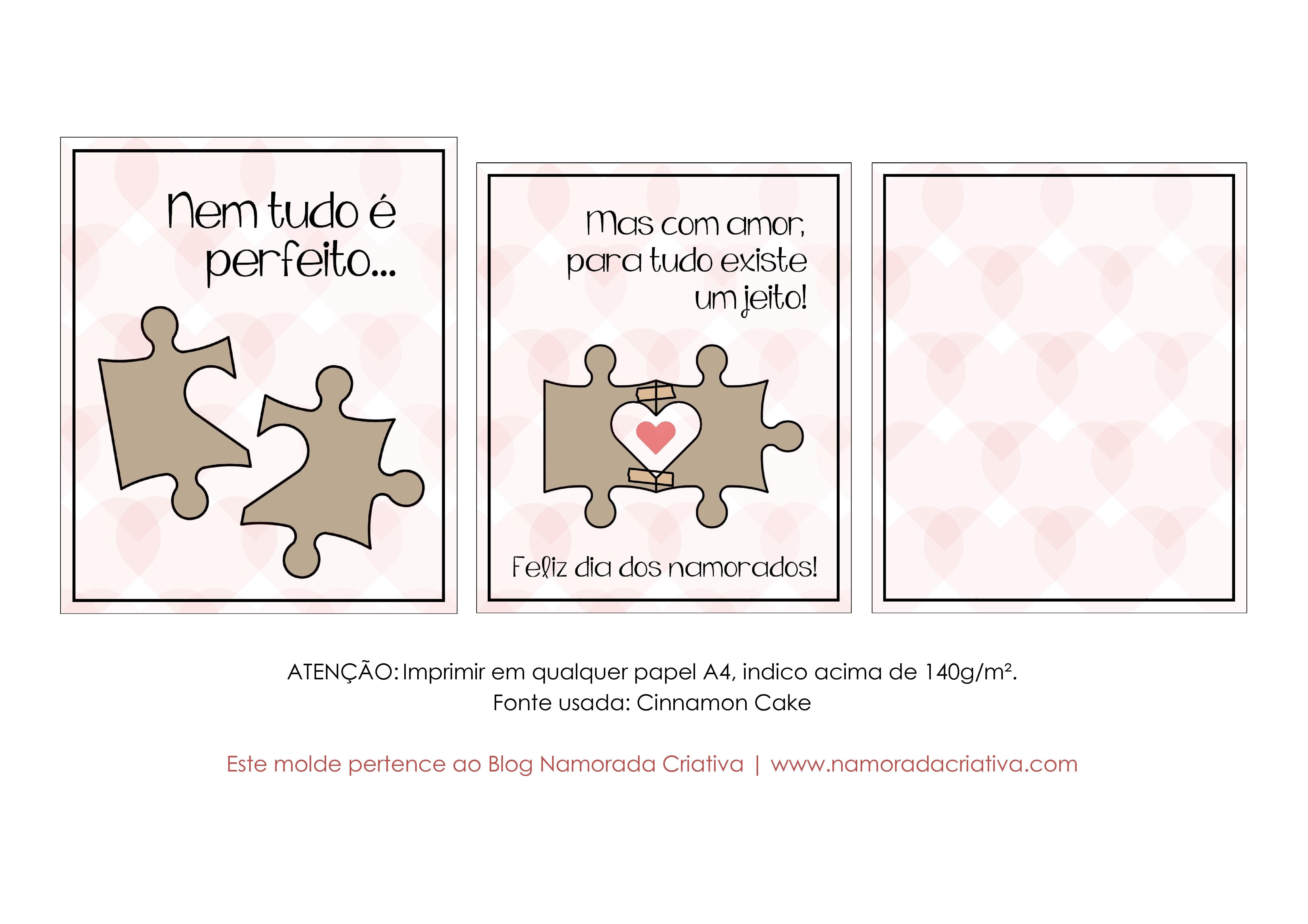 DIY - Cartão Nem Tudo é Perfeito - Namorada Criativa - Molde Rosa