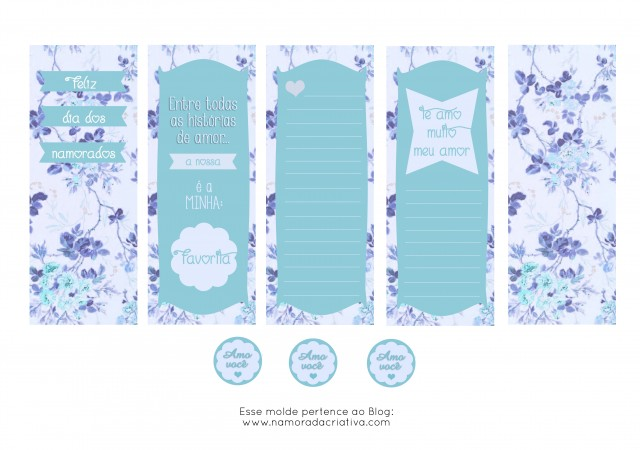 Molde Cartão dia dos Namorados Azul