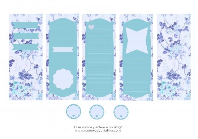Molde Cartão dia dos Namorados Azul em branco