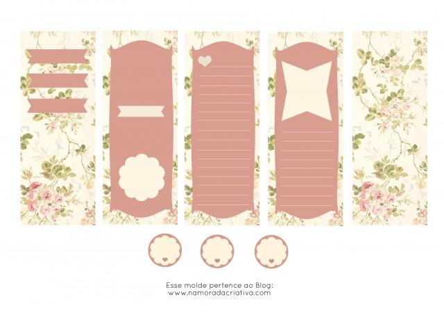 Molde Cartão dia dos Namorados Rosa em branco