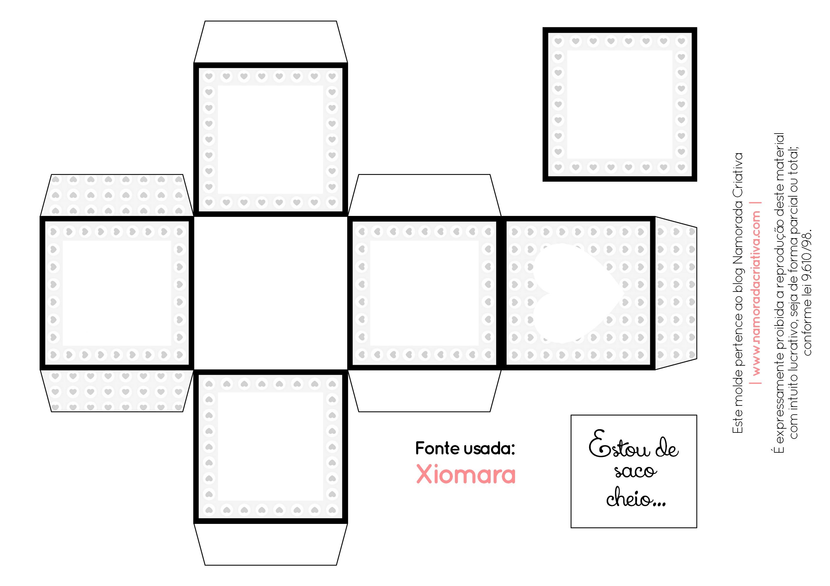 DIY - DE SACO CHEIO - NAMORADA CRIATIVA - MOLDE EM BRANCO