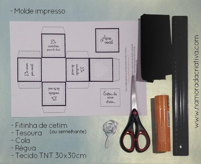 DIY - ESTOU DE SACO CHEIO - MATERIAIS