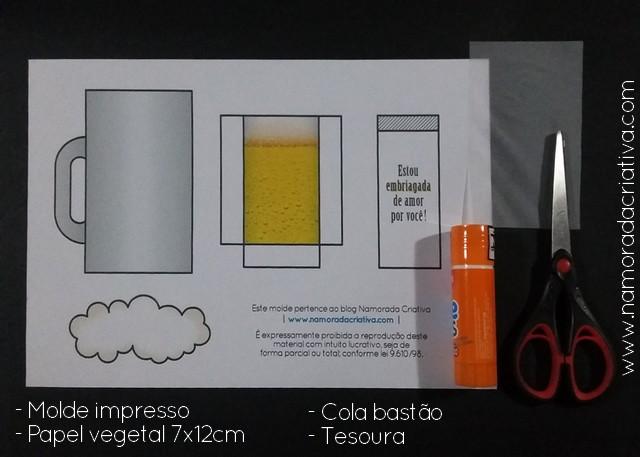 DIY - EMBRIAGADO DE AMOR - NAMORADA CRIATIVA - MATERIAIS