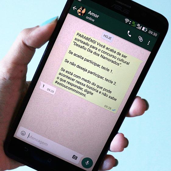 Desafio via mensagens de celular para aniversário de namoro