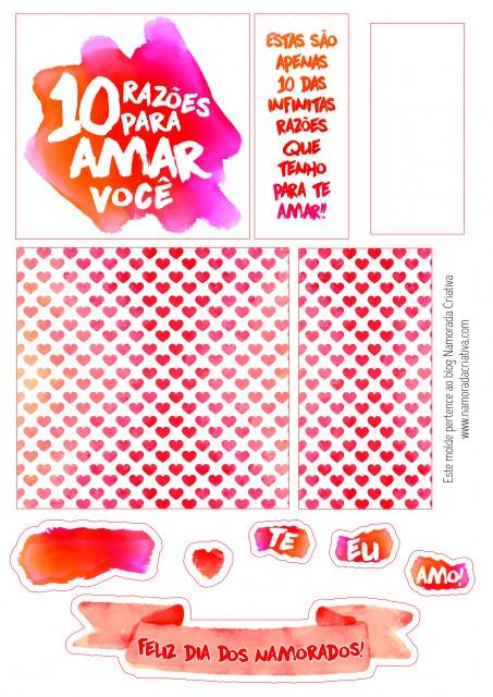 DIY: Cartão-presente 10 razões para te amar | Namorada