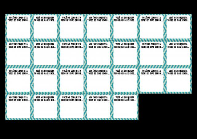 Este molde você vai baixar e depois upar em qualquer programa de edição que acrescente textos. Como o Photoscape por exemplo... DAí você vai colocar as melhores qualidades do seu amor! Para dar as 52 conquistas, você precisará preencher e imprimir 2 páginas!