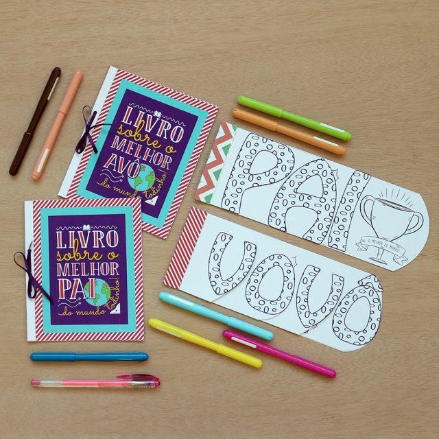 Mini livros para crianças desenhar e preencher [Dia dos Pais]