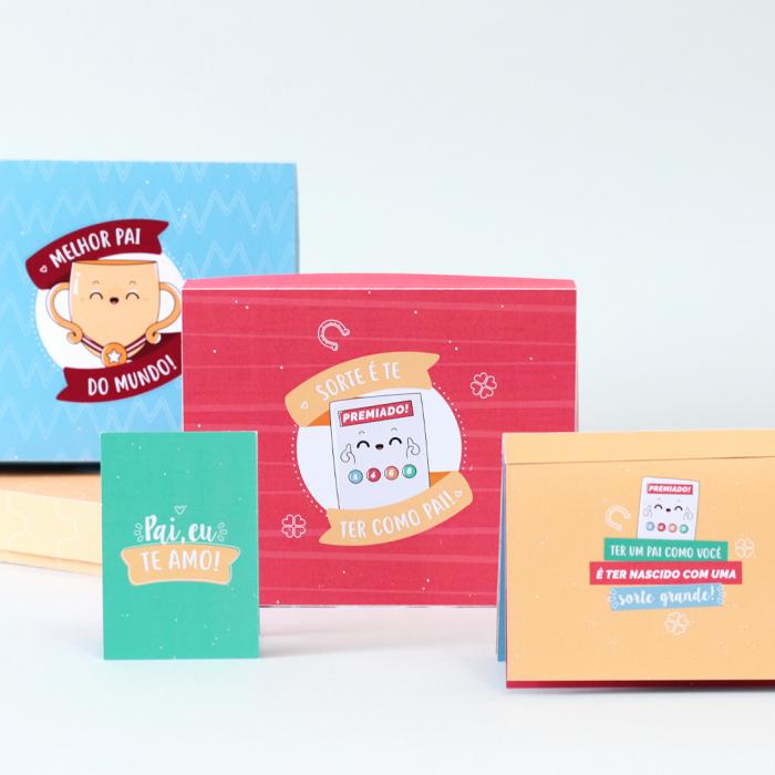 Coleção de caixinhas com cartão e mini álbum para o Dia dos Pais
